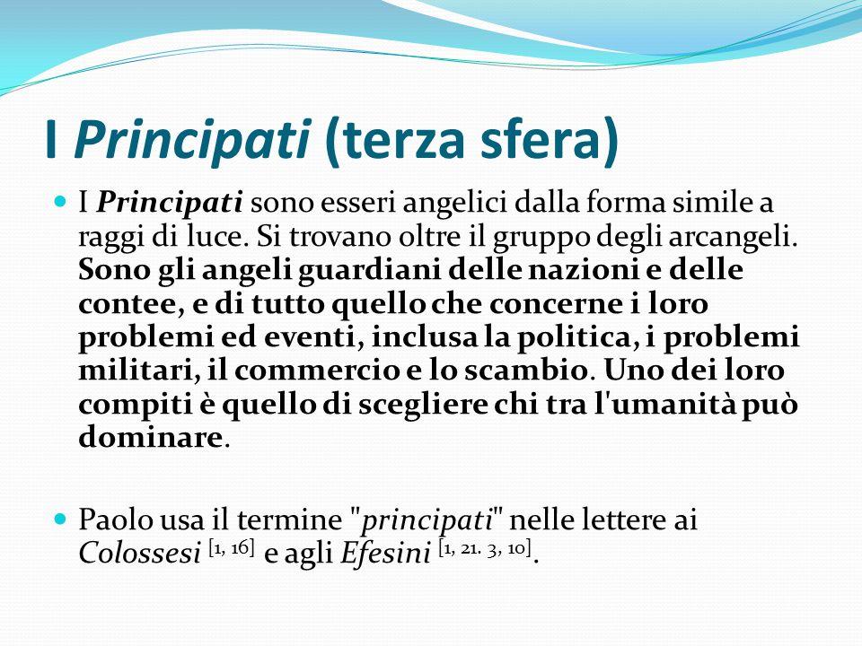I Principati (terza sfera) I Principati sono esseri angelici dalla forma simile a raggi di luce. Si trovano oltre il gruppo degli arcangeli. Sono gli