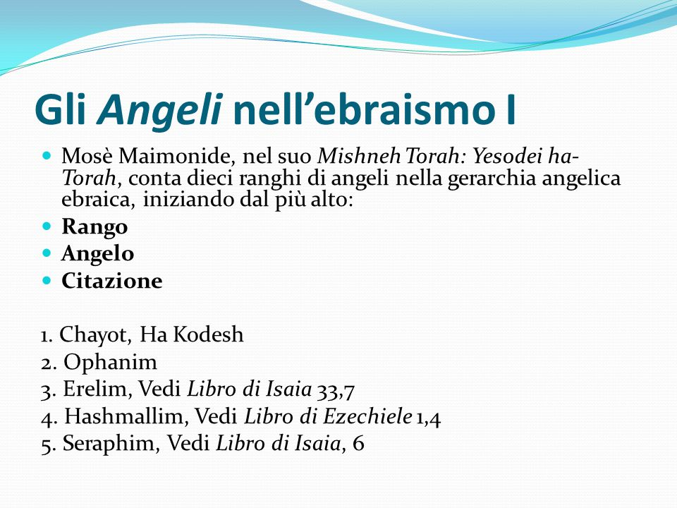 Gli Angeli nell'ebraismo I Mosè Maimonide, nel suo Mishneh Torah: Yesodei ha- Torah, conta dieci ranghi di angeli nella gerarchia angelica ebraica, in