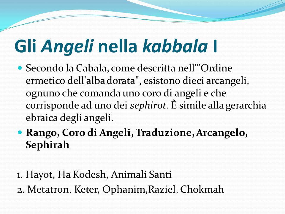 Gli Angeli nella kabbala I Secondo la Cabala, come descritta nell'