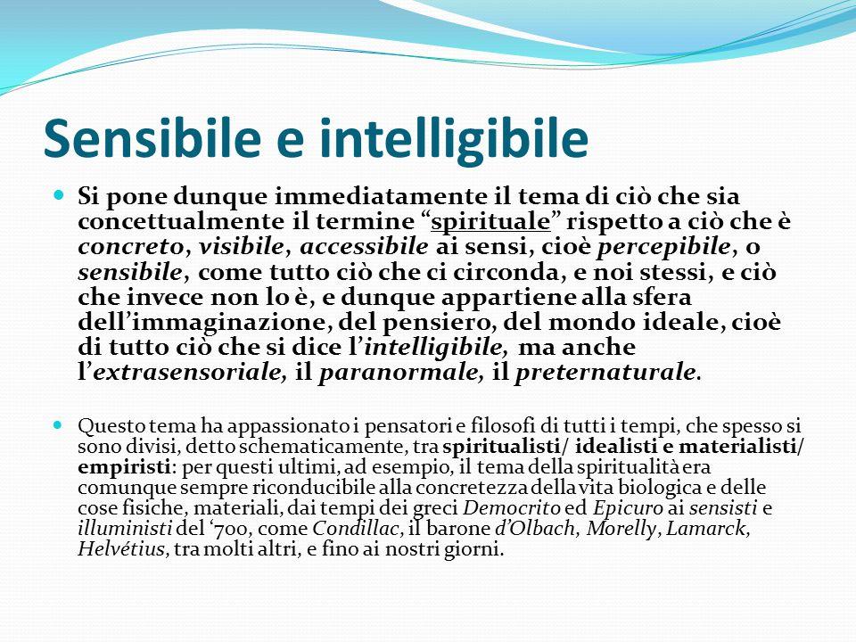 """Sensibile e intelligibile Si pone dunque immediatamente il tema di ciò che sia concettualmente il termine """"spirituale"""" rispetto a ciò che è concreto,"""