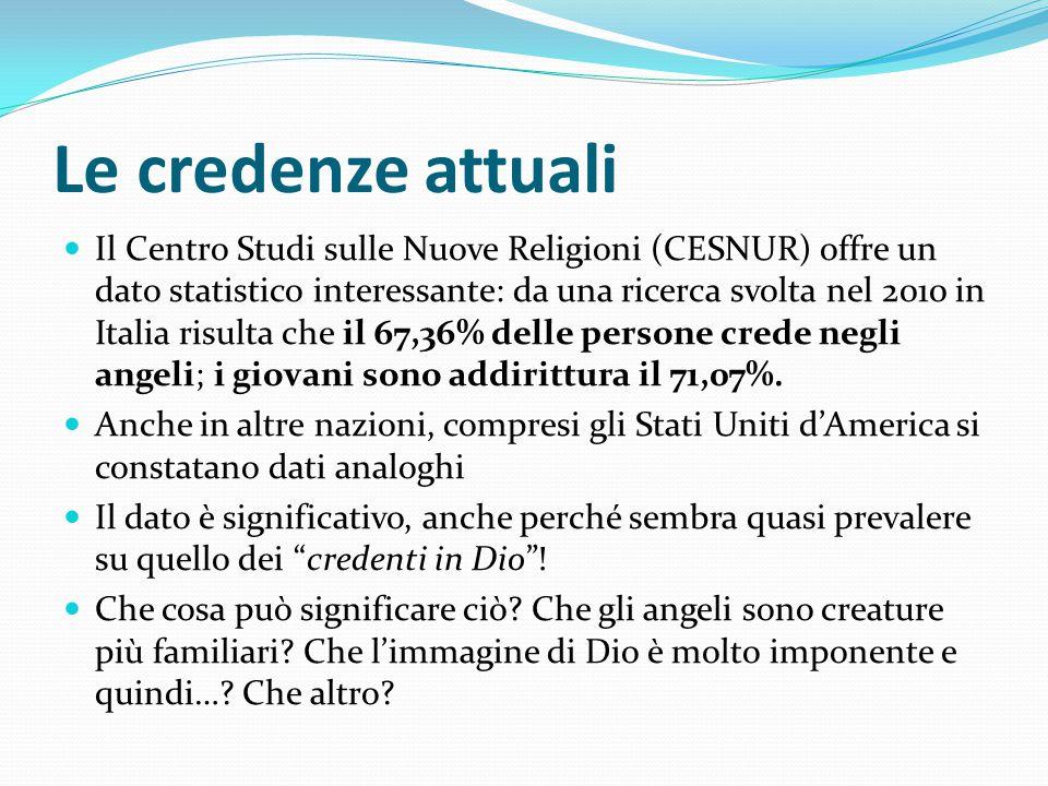 Le credenze attuali Il Centro Studi sulle Nuove Religioni (CESNUR) offre un dato statistico interessante: da una ricerca svolta nel 2010 in Italia ris
