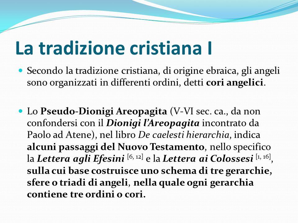 La tradizione cristiana II Prima gerarchia: serafini, cherubini, troni o ophanim; seconda gerarchia: dominazioni, potestà, virtù; terza gerarchia: principati, arcangeli, angeli.