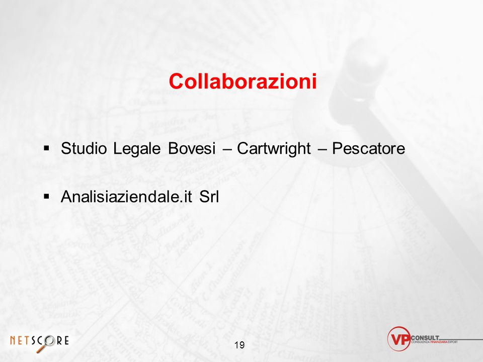 19 Collaborazioni  Studio Legale Bovesi – Cartwright – Pescatore  Analisiaziendale.it Srl