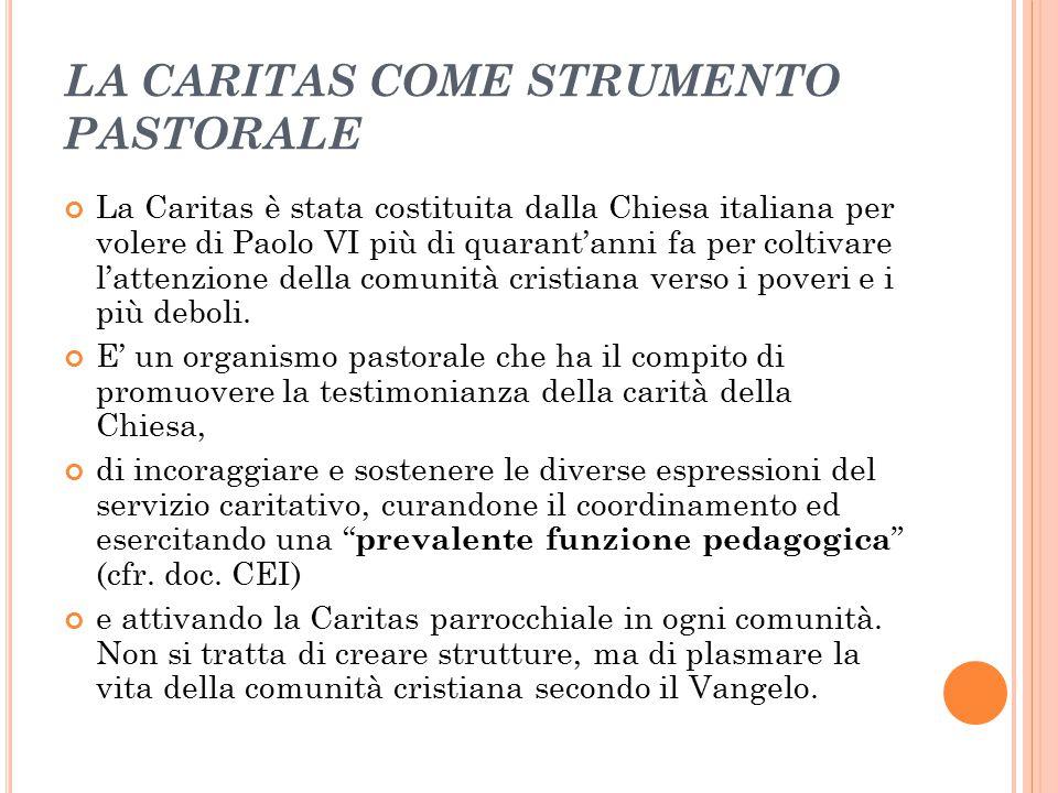 LA CARITAS COME STRUMENTO PASTORALE La Caritas è stata costituita dalla Chiesa italiana per volere di Paolo VI più di quarant'anni fa per coltivare l'