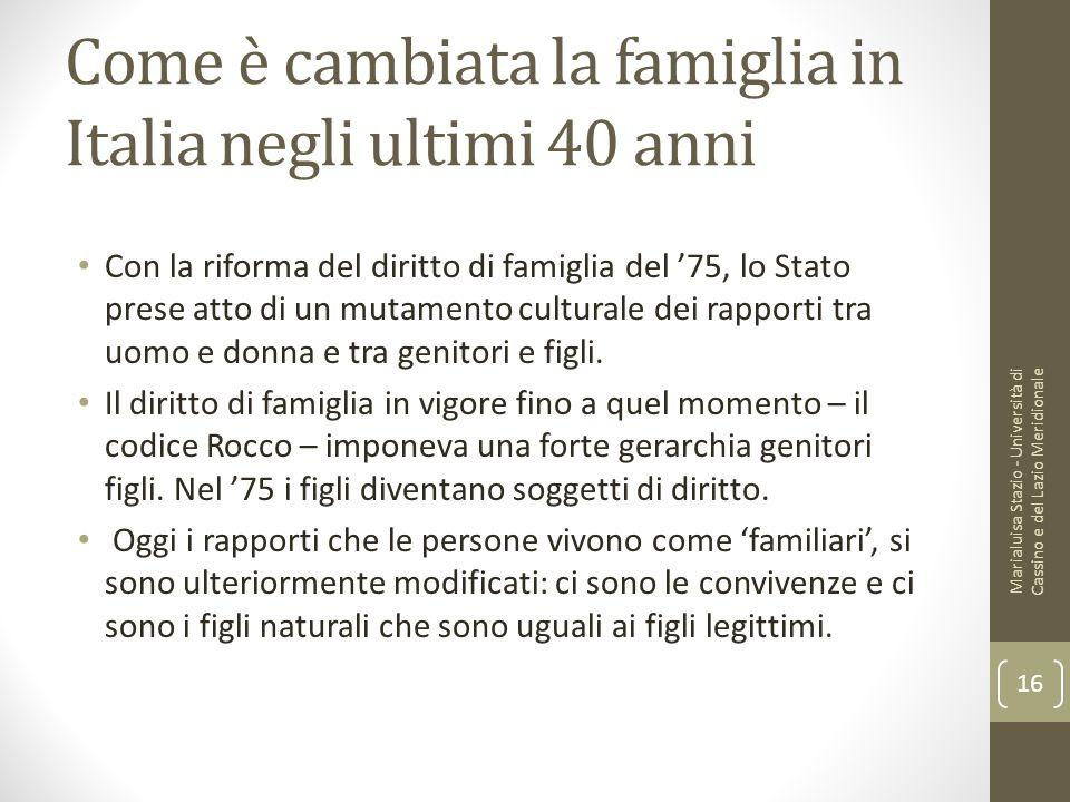Come è cambiata la famiglia in Italia negli ultimi 40 anni Con la riforma del diritto di famiglia del '75, lo Stato prese atto di un mutamento cultura
