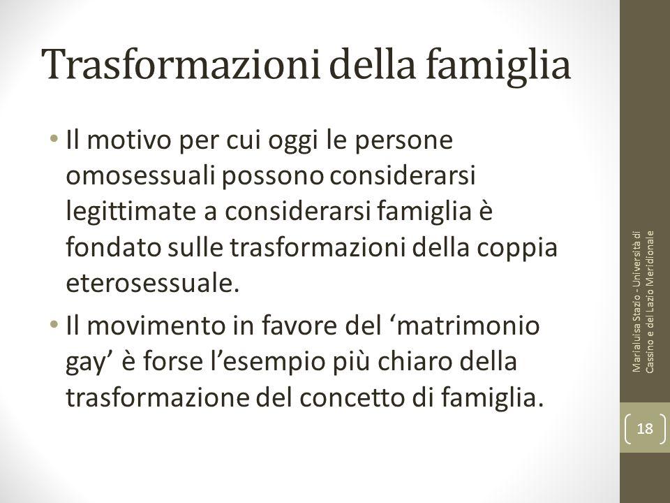 Trasformazioni della famiglia Il motivo per cui oggi le persone omosessuali possono considerarsi legittimate a considerarsi famiglia è fondato sulle t