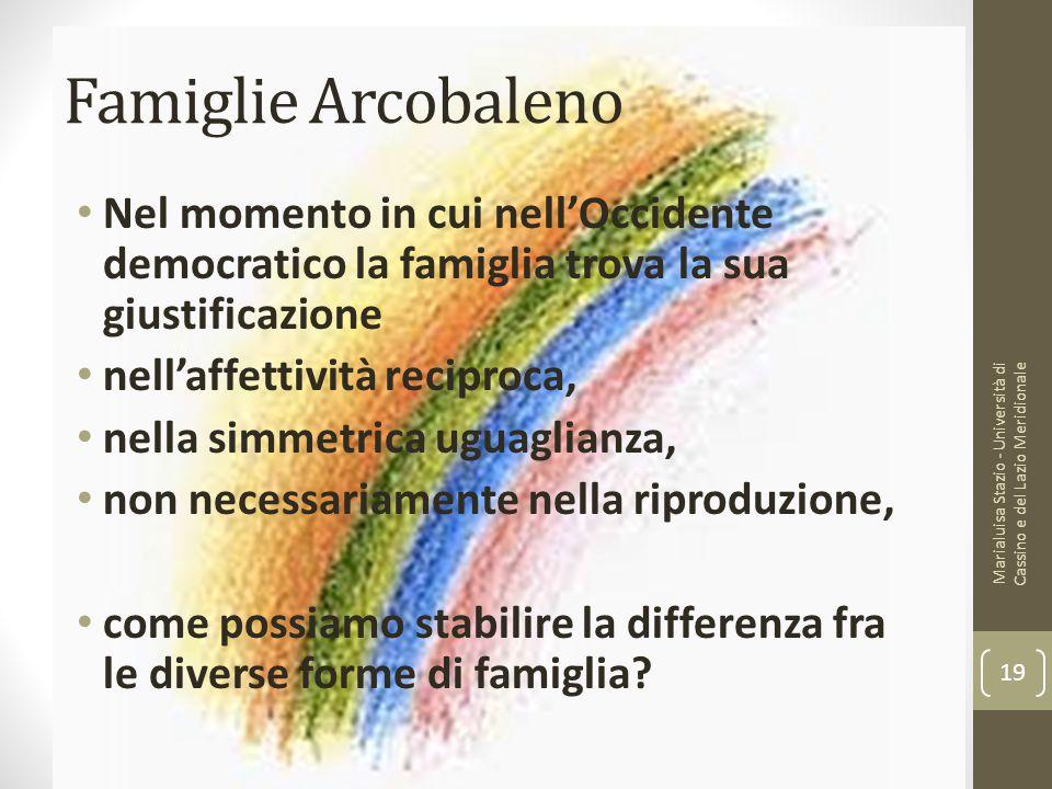Famiglie Arcobaleno Nel momento in cui nell'Occidente democratico la famiglia trova la sua giustificazione nell'affettività reciproca, nella simmetric