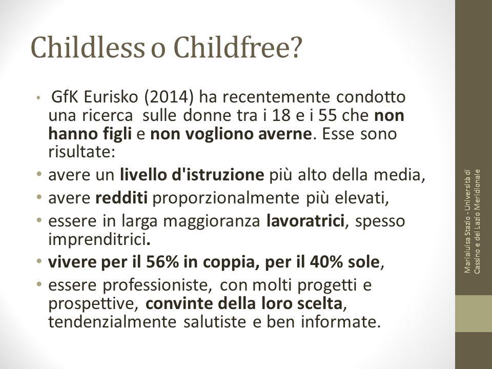 Childless o Childfree? GfK Eurisko (2014) ha recentemente condotto una ricerca sulle donne tra i 18 e i 55 che non hanno figli e non vogliono averne.
