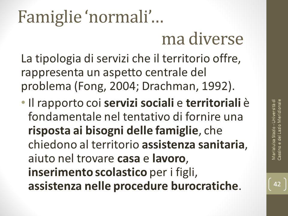 Famiglie 'normali'… ma diverse La tipologia di servizi che il territorio offre, rappresenta un aspetto centrale del problema (Fong, 2004; Drachman, 19