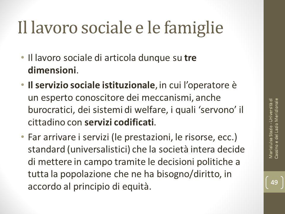 Il lavoro sociale e le famiglie Il lavoro sociale di articola dunque su tre dimensioni. Il servizio sociale istituzionale, in cui l'operatore è un esp