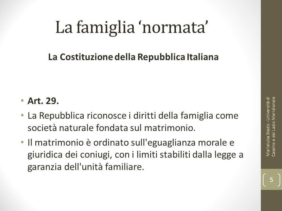 La famiglia 'normata' La Costituzione della Repubblica Italiana Art. 29. La Repubblica riconosce i diritti della famiglia come società naturale fondat