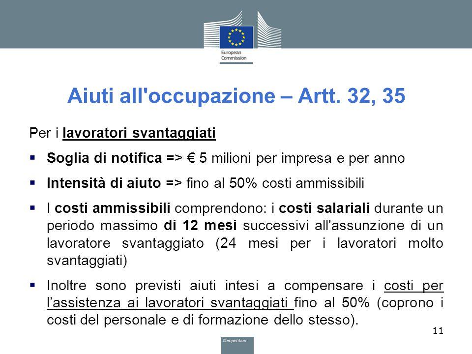 Aiuti all'occupazione – Artt. 32, 35 Per i lavoratori svantaggiati  Soglia di notifica => € 5 milioni per impresa e per anno  Intensità di aiuto =>