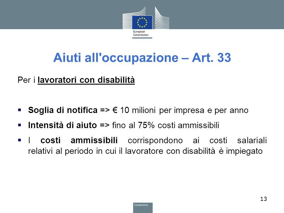 Aiuti all'occupazione – Art. 33 Per i lavoratori con disabilità  Soglia di notifica => € 10 milioni per impresa e per anno  Intensità di aiuto => fi