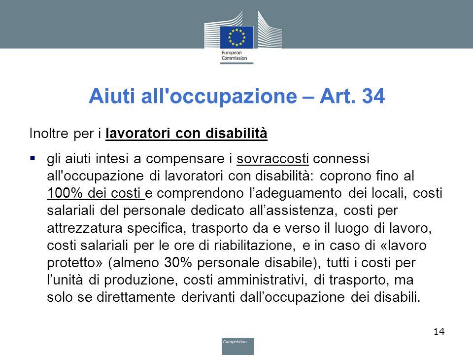 Aiuti all'occupazione – Art. 34 Inoltre per i lavoratori con disabilità  gli aiuti intesi a compensare i sovraccosti connessi all'occupazione di lavo