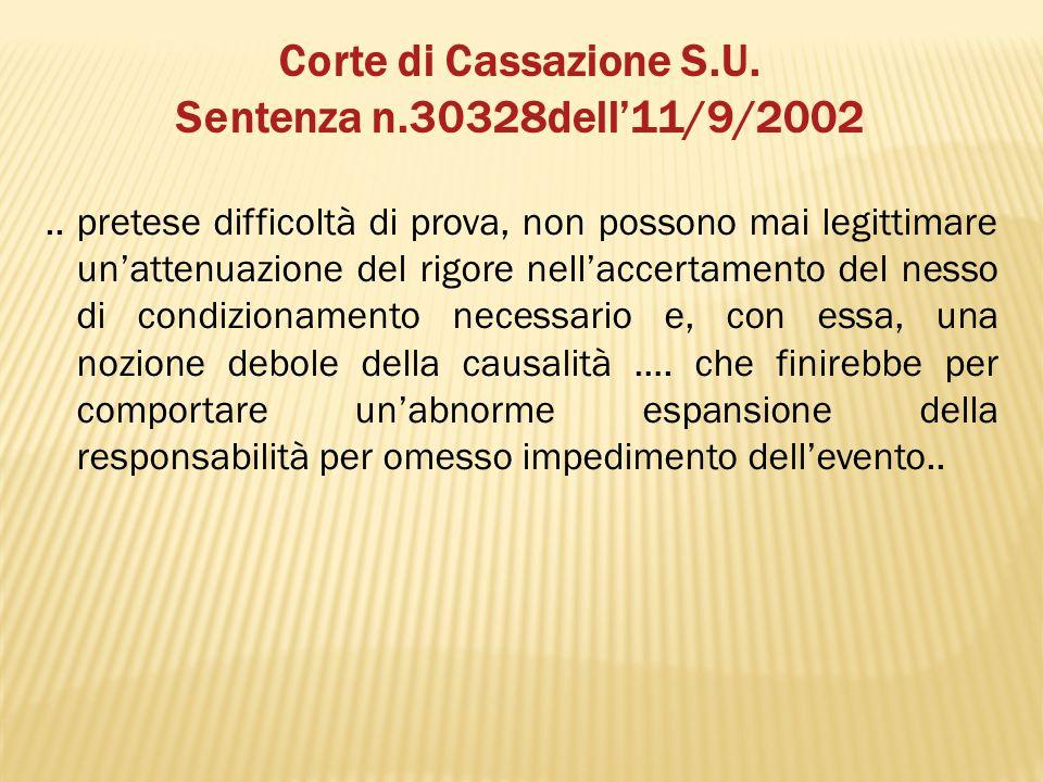 Corte di Cassazione S.U. Sentenza n.30328dell'11/9/2002.. pretese difficoltà di prova, non possono mai legittimare un'attenuazione del rigore nell'acc