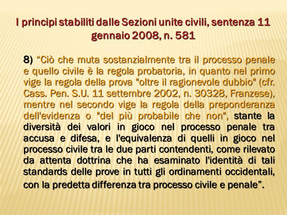 """I principi stabiliti dalle Sezioni unite civili, sentenza 11 gennaio 2008, n. 581 8) """"Ciò che muta sostanzialmente tra il processo penale e quello civ"""