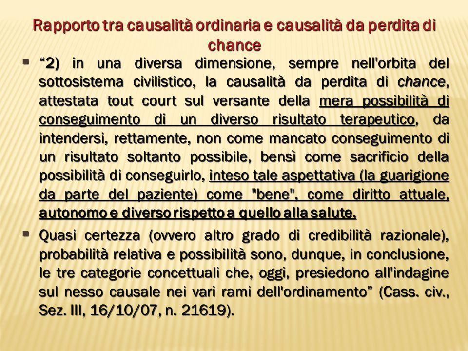 """Rapporto tra causalità ordinaria e causalità da perdita di chance  """"2) in una diversa dimensione, sempre nell'orbita del sottosistema civilistico, la"""