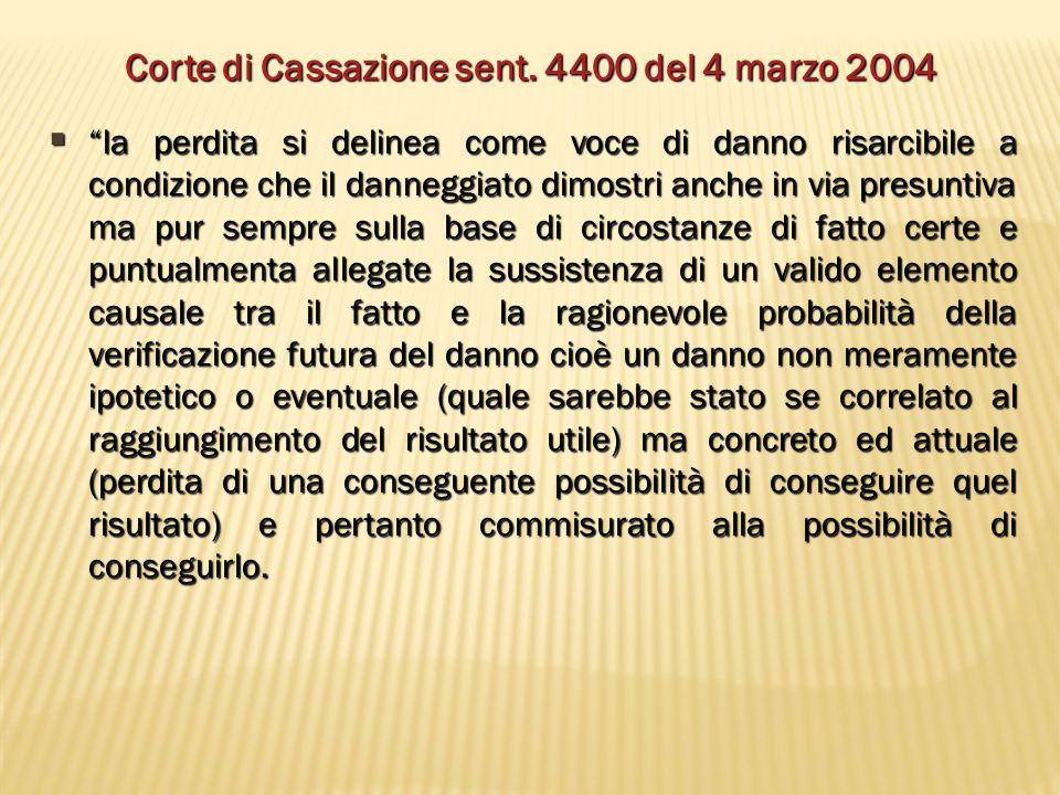 """Corte di Cassazione sent. 4400 del 4 marzo 2004  """"la perdita si delinea come voce di danno risarcibile a condizione che il danneggiato dimostri anche"""
