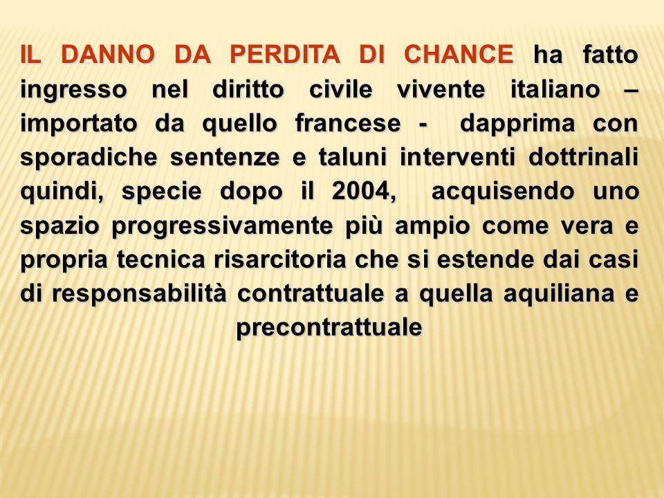 IL DANNO DA PERDITA DI CHANCE ha fatto ingresso nel diritto civile vivente italiano – importato da quello francese - dapprima con sporadiche sentenze