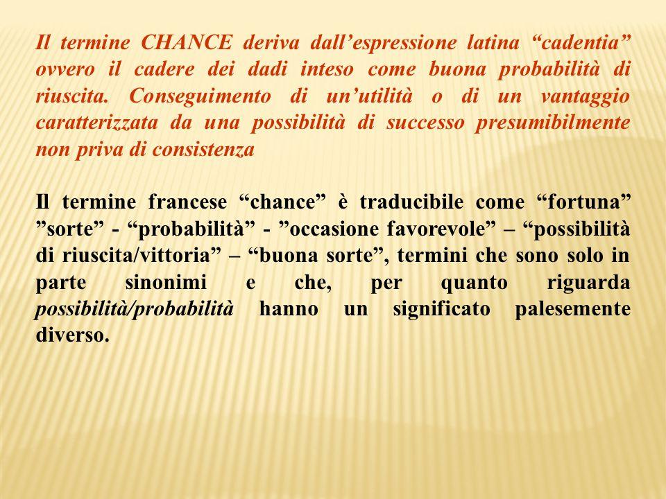 """Il termine CHANCE deriva dall'espressione latina """"cadentia"""" ovvero il cadere dei dadi inteso come buona probabilità di riuscita. Conseguimento di un'u"""