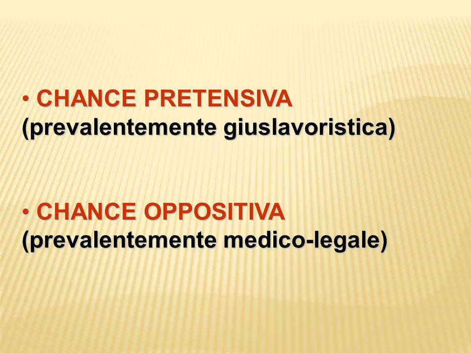 CHANCE PRETENSIVA (prevalentemente giuslavoristica) CHANCE PRETENSIVA (prevalentemente giuslavoristica) CHANCE OPPOSITIVA (prevalentemente medico-lega