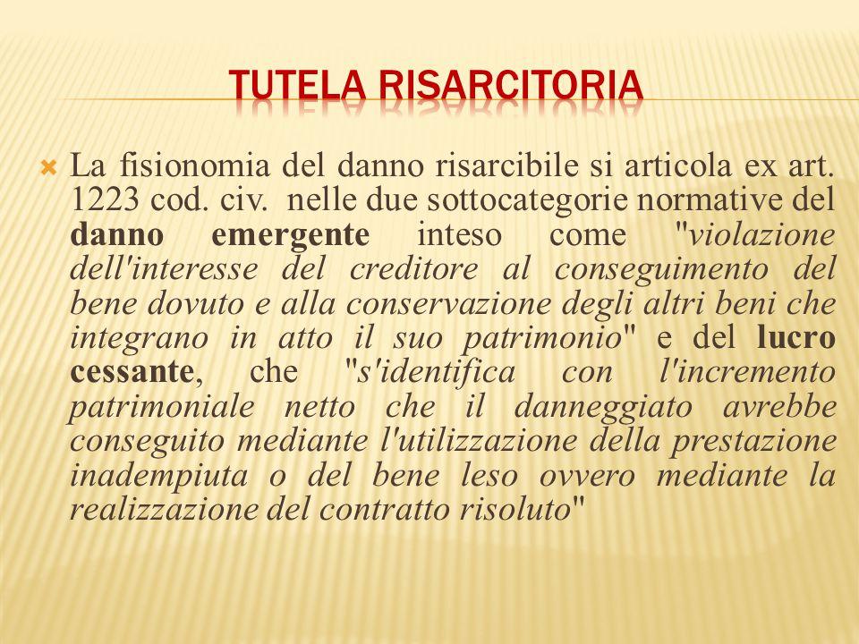  La fisionomia del danno risarcibile si articola ex art. 1223 cod. civ. nelle due sottocategorie normative del danno emergente inteso come