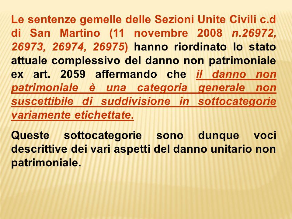 Le sentenze gemelle delle Sezioni Unite Civili c.d di San Martino (11 novembre 2008 n.26972, 26973, 26974, 26975) hanno riordinato lo stato attuale co