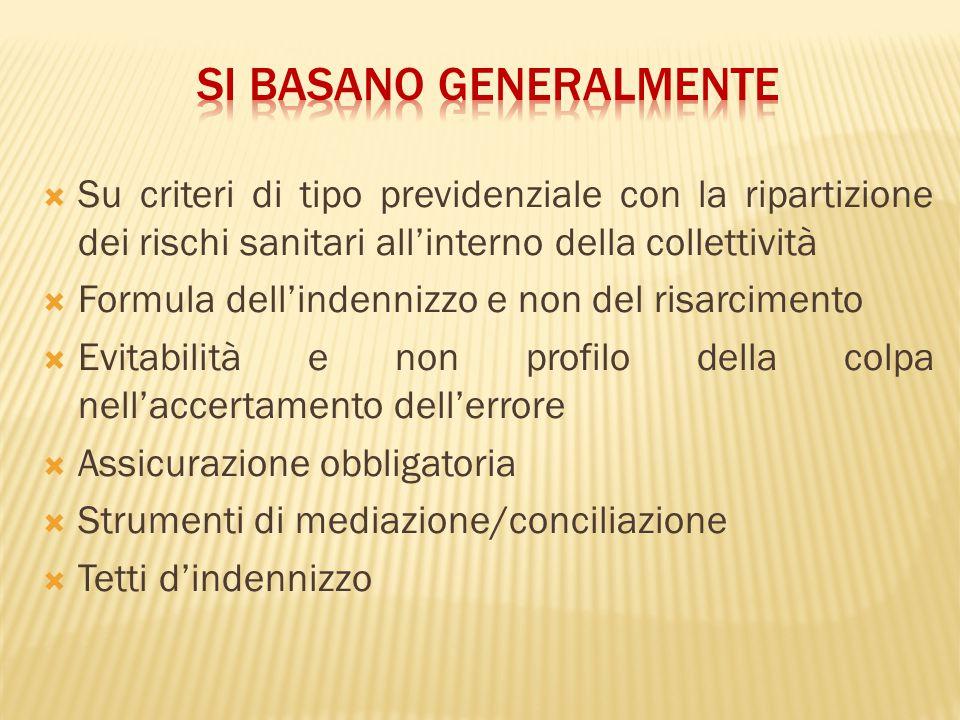  Su criteri di tipo previdenziale con la ripartizione dei rischi sanitari all'interno della collettività  Formula dell'indennizzo e non del risarcim