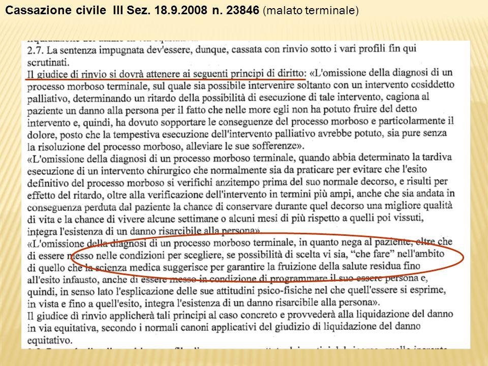 Cassazione civile III Sez. 18.9.2008 n. 23846 (malato terminale)