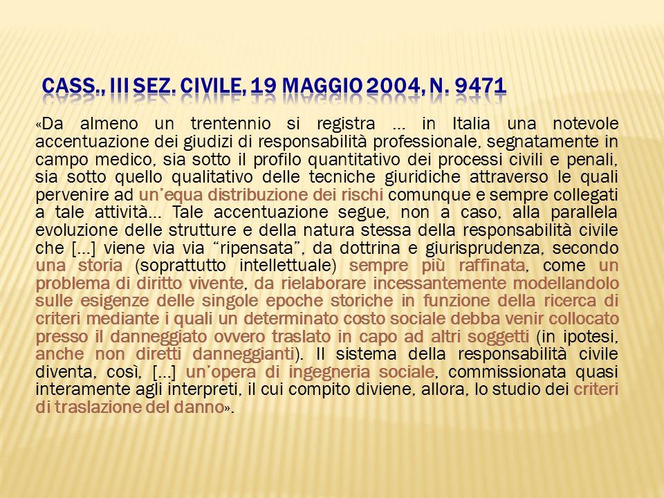 «Da almeno un trentennio si registra … in Italia una notevole accentuazione dei giudizi di responsabilità professionale, segnatamente in campo medico,