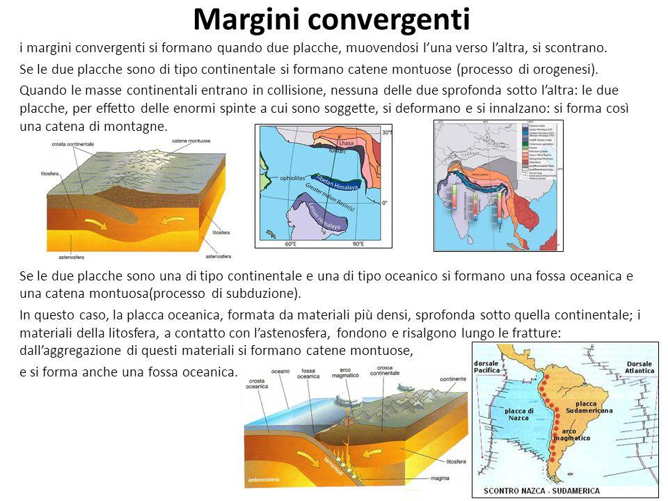 Margini convergenti i margini convergenti si formano quando due placche, muovendosi l'una verso l'altra, si scontrano. Se le due placche sono di tipo