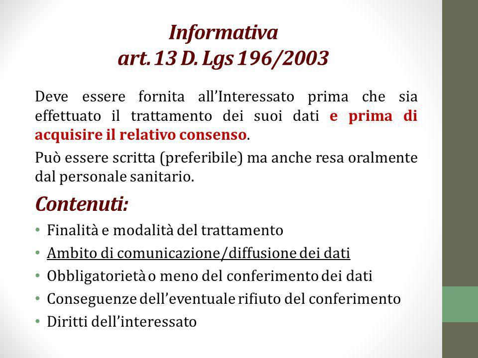 Informativa art. 13 D. Lgs 196/2003 Deve essere fornita all'Interessato prima che sia effettuato il trattamento dei suoi dati e prima di acquisire il
