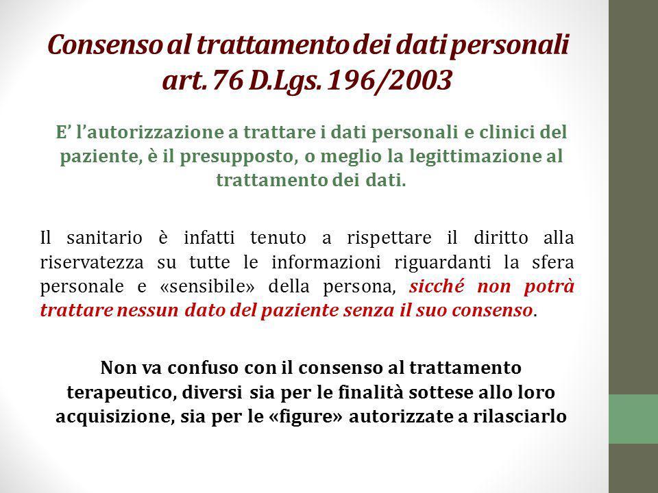 Consenso al trattamento dei dati personali art. 76 D.Lgs. 196/2003 E' l'autorizzazione a trattare i dati personali e clinici del paziente, è il presup
