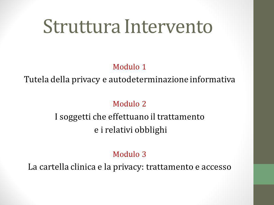 Struttura Intervento Modulo 1 Tutela della privacy e autodeterminazione informativa Modulo 2 I soggetti che effettuano il trattamento e i relativi obb
