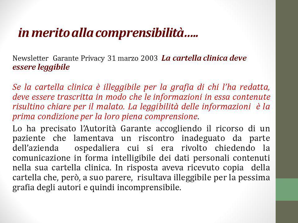 in merito alla comprensibilità….. Newsletter Garante Privacy 31 marzo 2003 La cartella clinica deve essere leggibile Se la cartella clinica è illeggib