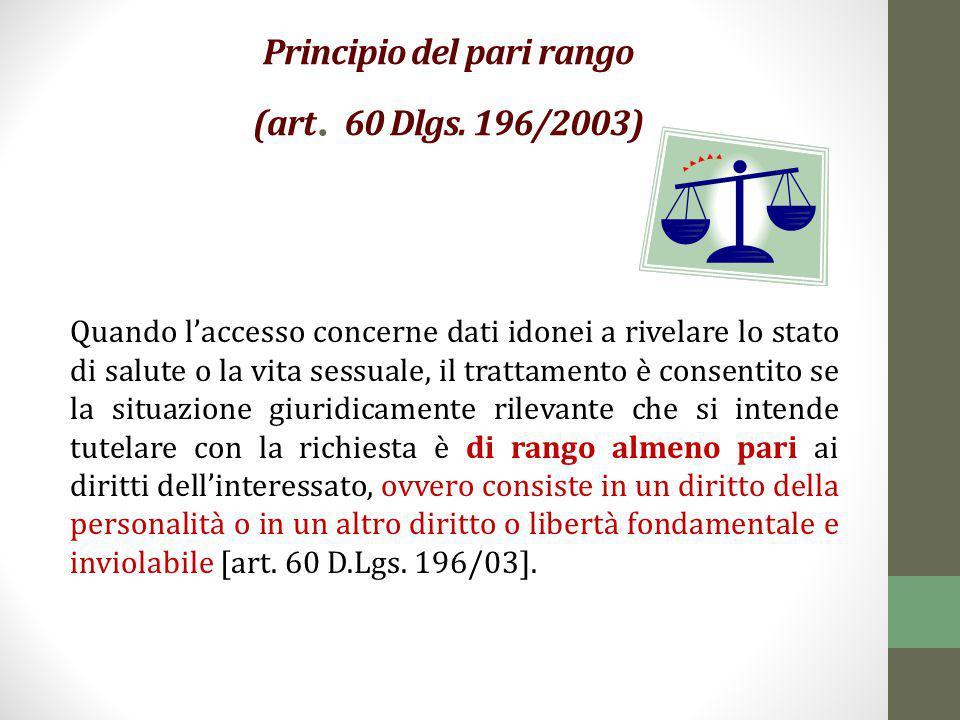 Principio del pari rango (art. 60 Dlgs. 196/2003) Quando l'accesso concerne dati idonei a rivelare lo stato di salute o la vita sessuale, il trattamen