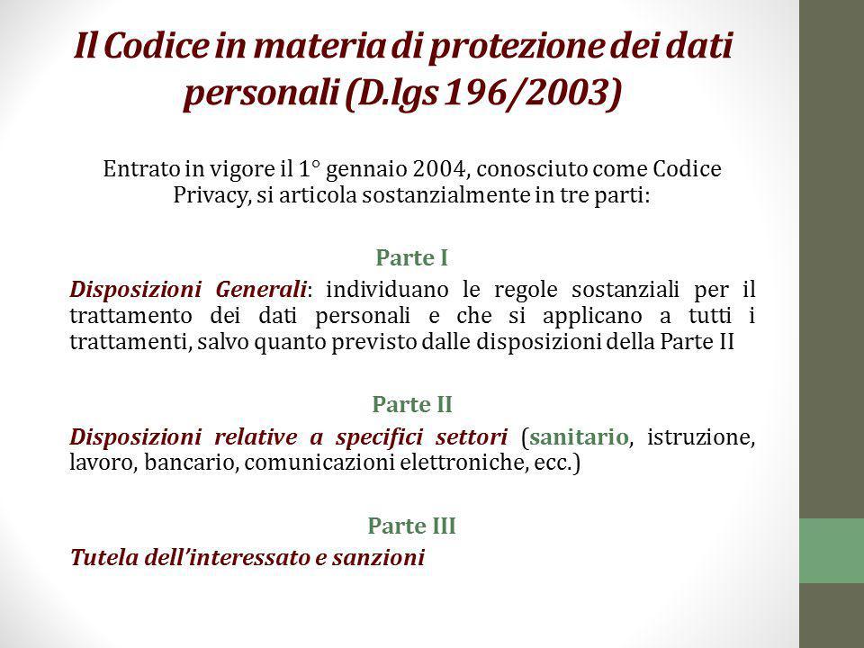 Il Codice in materia di protezione dei dati personali (D.lgs 196/2003) Entrato in vigore il 1° gennaio 2004, conosciuto come Codice Privacy, si artico