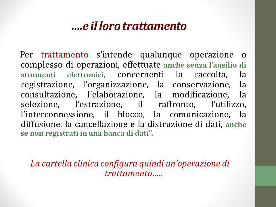 ….e il loro trattamento Per trattamento s'intende qualunque operazione o complesso di operazioni, effettuate anche senza l'ausilio di strumenti elettr