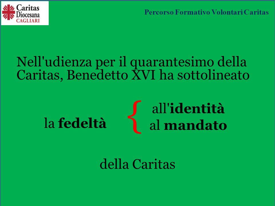 Nell udienza per il quarantesimo della Caritas, Benedetto XVI ha sottolineato la fedeltà { della Caritas all identità al mandato