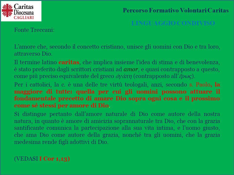 RUOLO ISTITUZIONALE DELLA CARITAS La Caritas come unico strumento ufficialmente riconosciuto, per promuovere, coordinare e potenziare le attività assistenziali Percorso Formativo Volontari Caritas