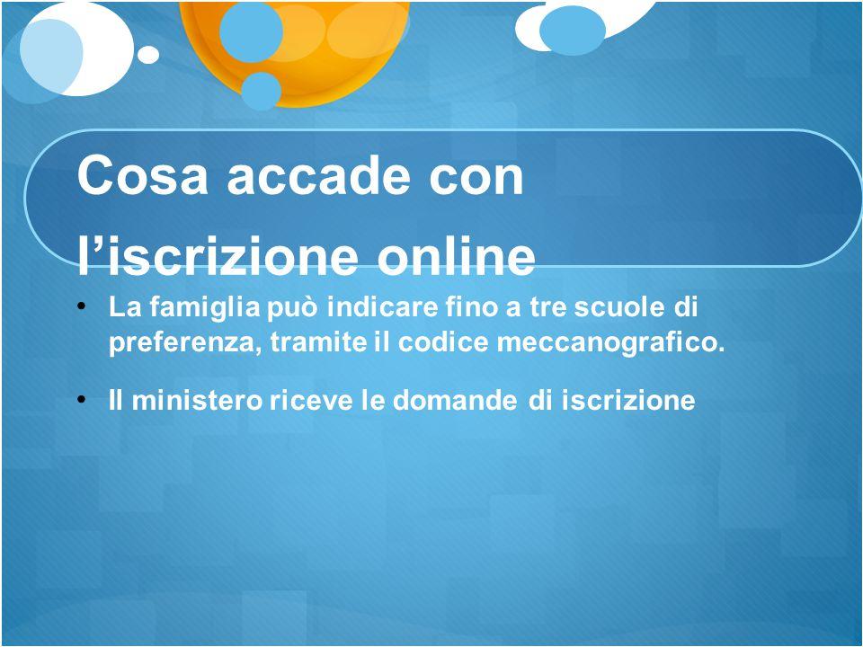 Cosa accade con l'iscrizione online La famiglia può indicare fino a tre scuole di preferenza, tramite il codice meccanografico. Il ministero riceve le