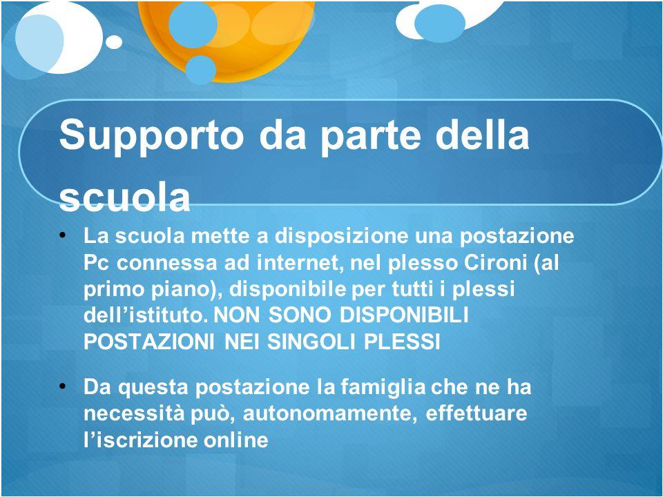 Supporto da parte della scuola La scuola mette a disposizione una postazione Pc connessa ad internet, nel plesso Cironi (al primo piano), disponibile