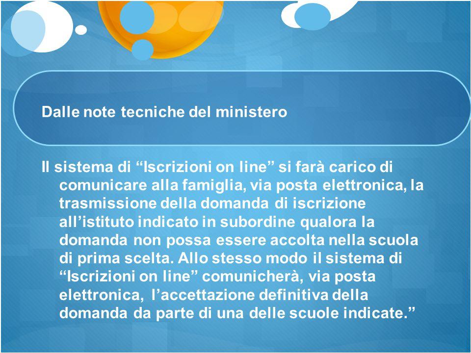 """Dalle note tecniche del ministero Il sistema di """"Iscrizioni on line"""" si farà carico di comunicare alla famiglia, via posta elettronica, la trasmission"""