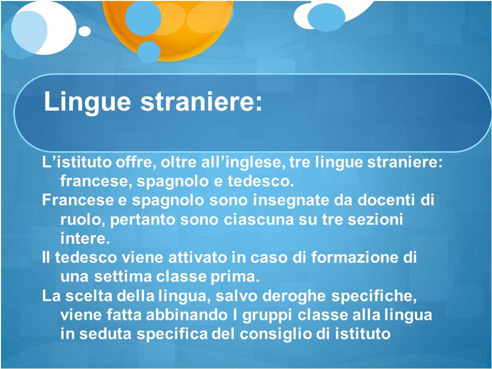 Lingue straniere: L'istituto offre, oltre all'inglese, tre lingue straniere: francese, spagnolo e tedesco. Francese e spagnolo sono insegnate da docen