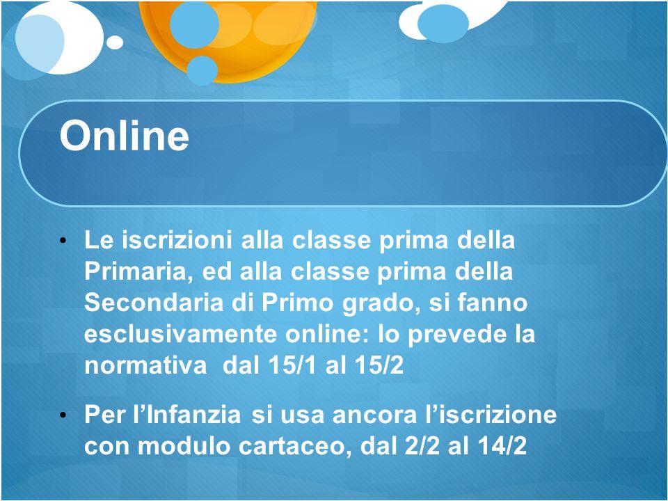 Online Le iscrizioni alla classe prima della Primaria, ed alla classe prima della Secondaria di Primo grado, si fanno esclusivamente online: lo preved