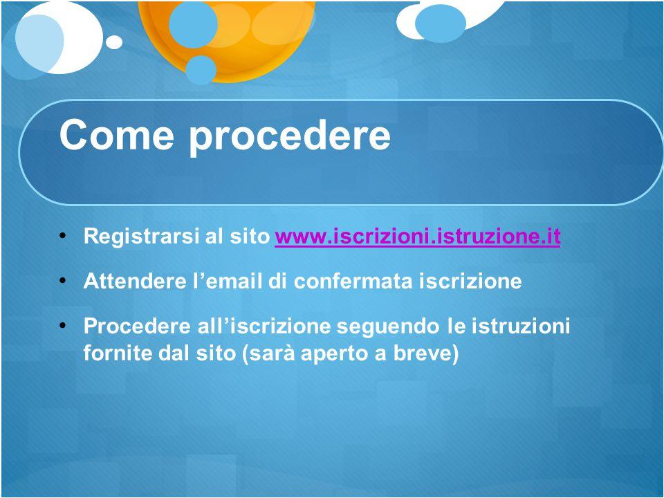 Come procedere Registrarsi al sito www.iscrizioni.istruzione.itwww.iscrizioni.istruzione.it Attendere l'email di confermata iscrizione Procedere all'i