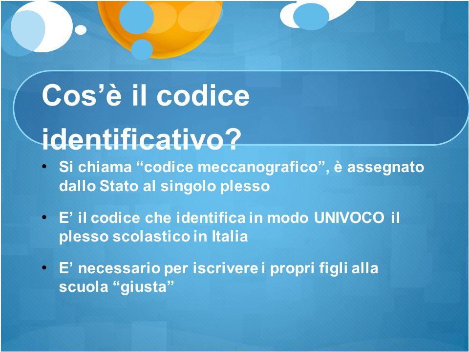 """Cos'è il codice identificativo? Si chiama """"codice meccanografico"""", è assegnato dallo Stato al singolo plesso E' il codice che identifica in modo UNIVO"""