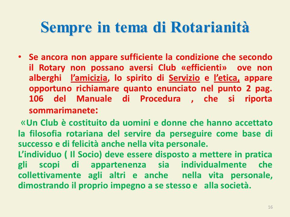 Sempre in tema di Rotarianità Se ancora non appare sufficiente la condizione che secondo il Rotary non possano aversi Club «efficienti» ove non alberghi l'amicizia, lo spirito di Servizio e l'etica, appare opportuno richiamare quanto enunciato nel punto 2 pag.