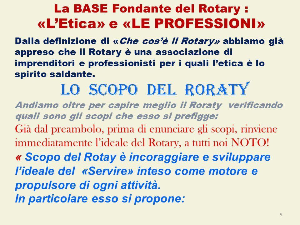 Dalla definizione di «Che cos'è il Rotary» abbiamo già appreso che il Rotary è una associazione di imprenditori e professionisti per i quali l'etica è lo spirito saldante.