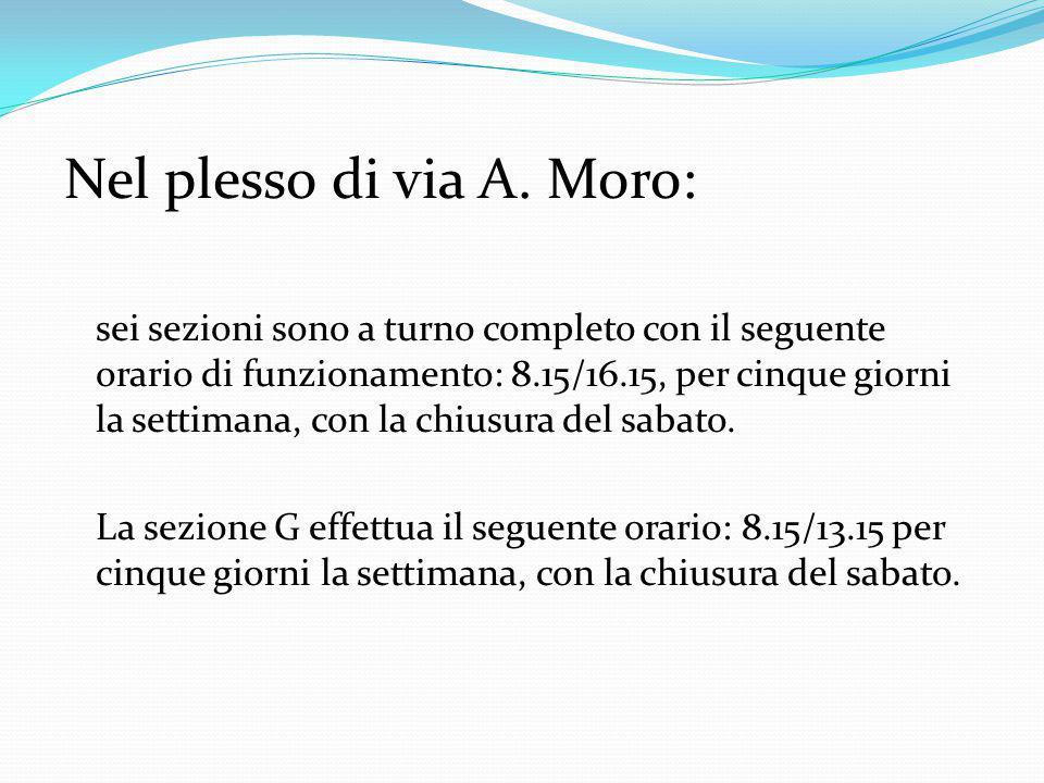 Nel plesso di via A. Moro: sei sezioni sono a turno completo con il seguente orario di funzionamento: 8.15/16.15, per cinque giorni la settimana, con